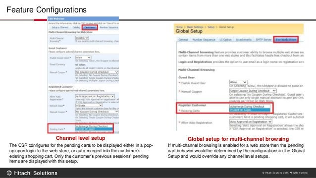© Hitachi Solutions. 2015. All rights reserved. Feature Configurations Channel level setup Global setup for multi-channel ...