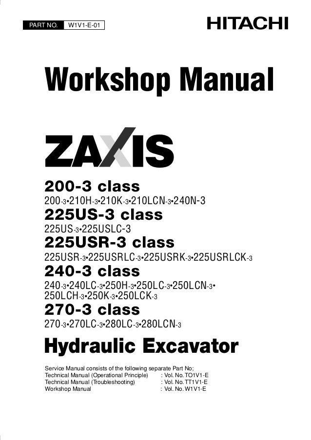 hitachi zaxis 240 3 class excavator service repair manual rh slideshare net Hitachi 490 Excavator Specs Hitachi Excavator Specifications