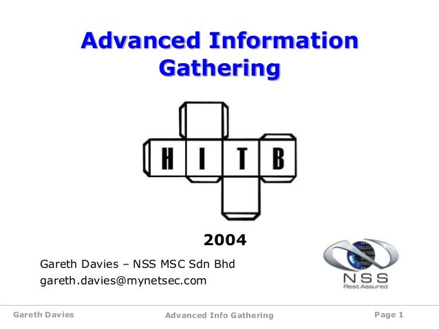 Advanced Information Gathering AKA Google Hacking