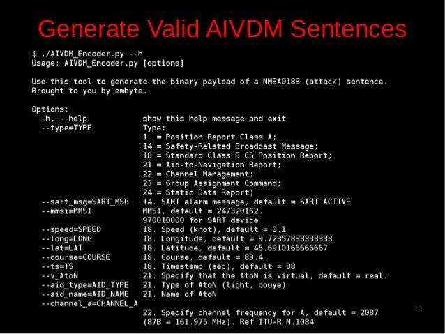 Generate Valid AIVDM Sentences  12