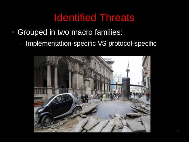 Identified Threats ●  Grouped in two macro families: –  Implementation-specific VS protocol-specific  14