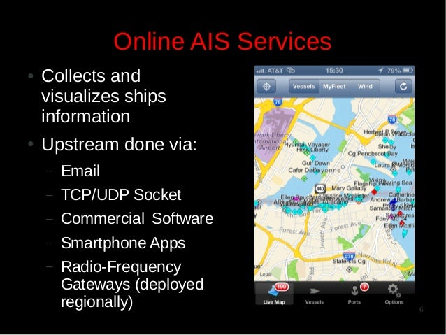 Online AIS Services ●  ●  Collects and visualizes ships information Upstream done via: –  Email  –  TCP/UDP Socket  –  Com...