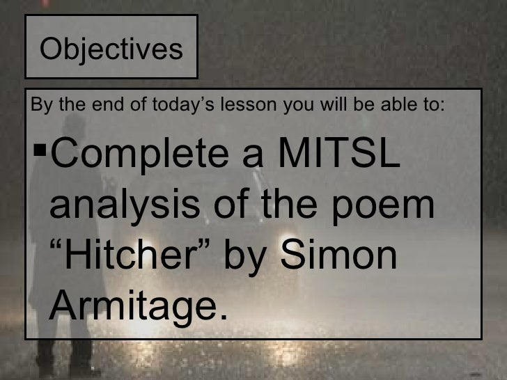 hitcher simon armitage poem