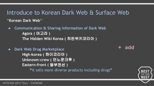 "HITCON 2017 Dec - TAIWAN Introduce to Korean Dark Web & Surface Web ""Korean Dark Web"" ● Communication & Sharing Informatio..."