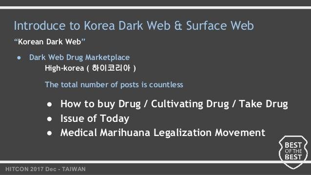 "HITCON 2017 Dec - TAIWAN Introduce to Korea Dark Web & Surface Web ""Korean Dark Web"" ● Dark Web Drug Marketplace High-kore..."