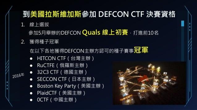 到美國拉斯維加斯參加 DEFCON CTF 決賽資格 1. 線上選拔 參加5月舉辦的DEFCON Quals 線上初賽,打進前10名 2. 獲得種子冠軍 在以下各地獲得DEFCON主辦方認可的種子賽事冠軍 HITCON CTF(台灣主辦) Ru...