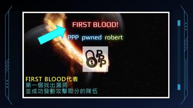 FIRST BLOOD代表 第一個找出漏洞 並成功發動攻擊取分的隊伍