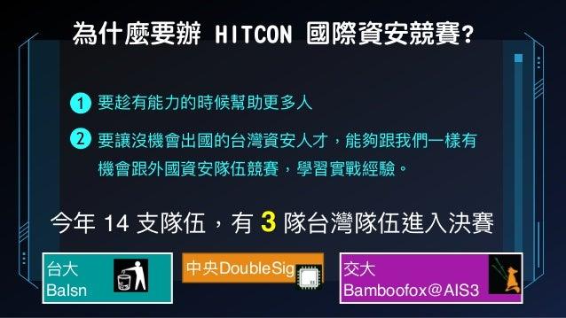 為什麼要辦 HITCON 國際資安競賽? 今年年 14 ⽀支隊伍,有 3 隊台灣隊伍進入決賽 台⼤大 Balsn 中央DoubleSigma 交⼤大 Bamboofox@AIS3 要趁有能⼒力力的時候幫助更更多⼈人 要讓沒機會出國的台灣資安⼈人...