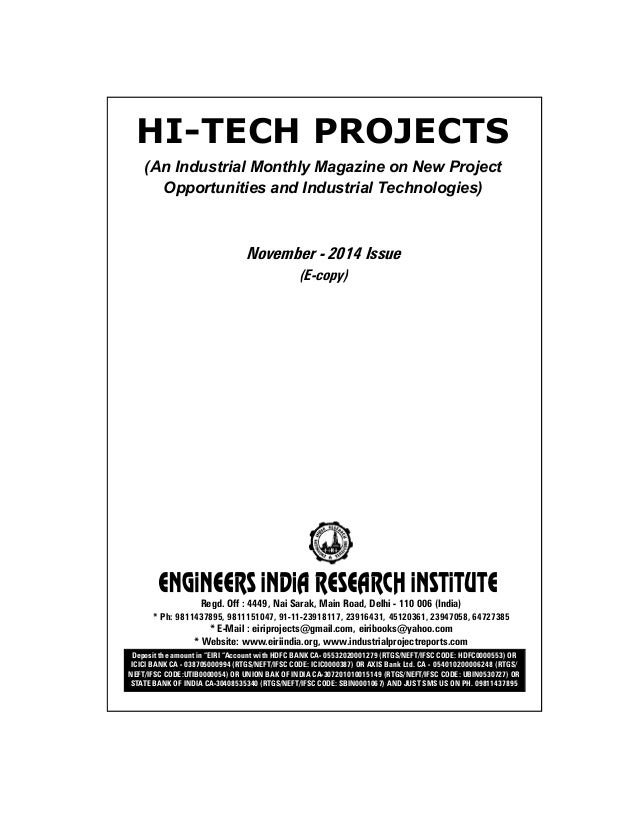 Project reports to start new industry technology magazine november hi tech projects an industrial monthly magazine on new project opportunities and industrial technologies fandeluxe Gallery