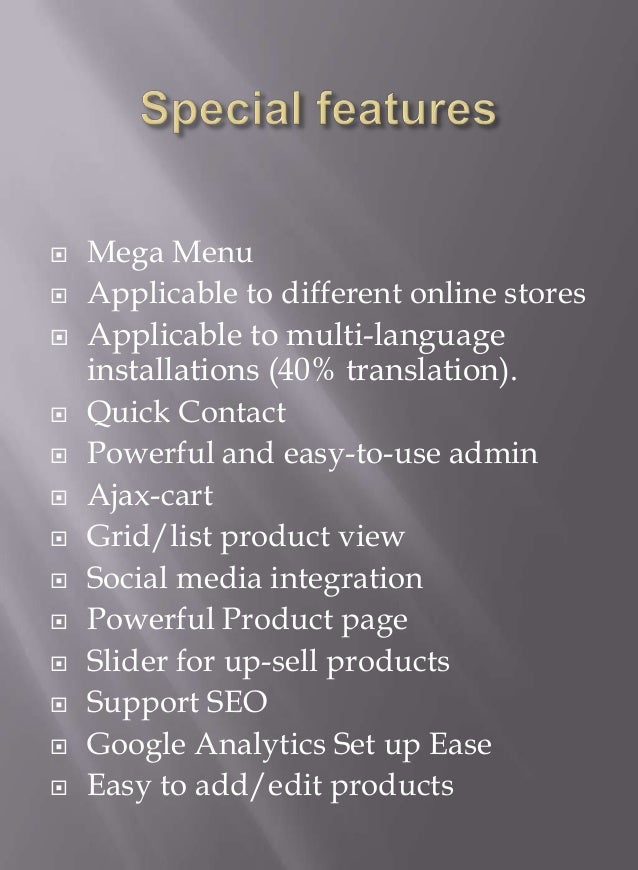    Mega Menu   Applicable to different online stores   Applicable to multi-language    installations (40% translation)....