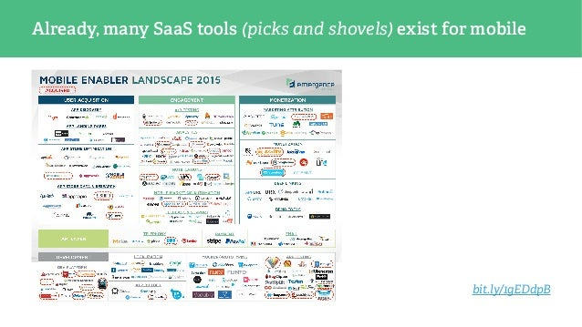 Already, many SaaS tools (picks and shovels) exist for mobile bit.ly/1gEDdpB