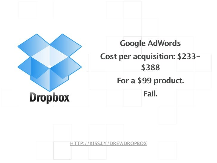 Google AdWords          Cost per acquisition: $233-                     $388               For a $99 product.             ...