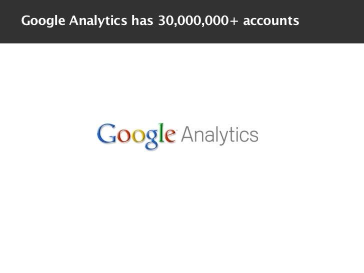 Google Analytics has 30,000,000+ accounts