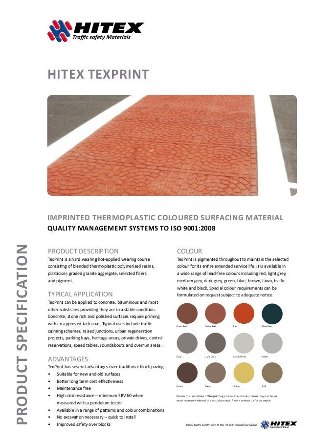 ProductSpecification HITEX TEXPRINT Imprinted Thermoplastic Coloured Surfacing Material Quality management systems to ISO ...