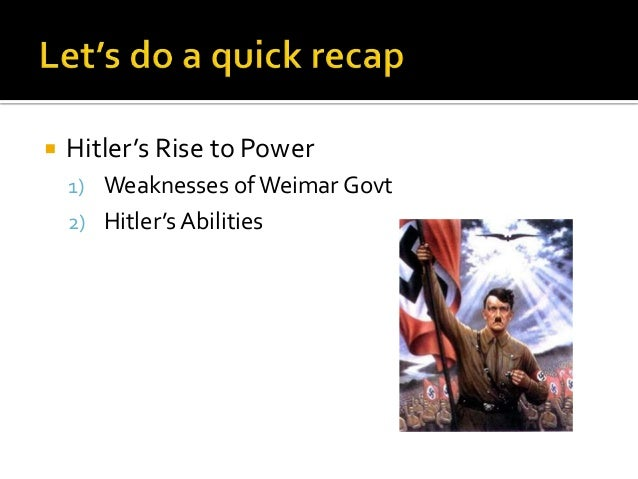 hitlers consolidation of power Free essay: account for the initial consolidation of nazi power in 1933 - 1934 due to the failure of the weimar republic and general public dissatisfaction.