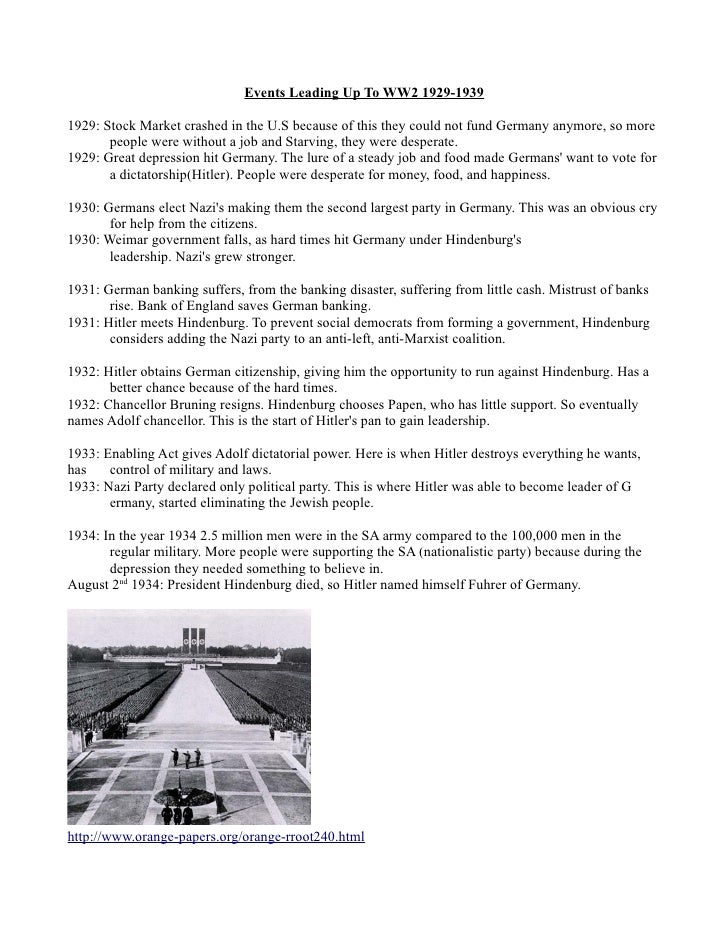 Events Leading Up To WW2 1929-19391929: Stock Market crashed in the U.S because of this they could not fund Germany anymor...