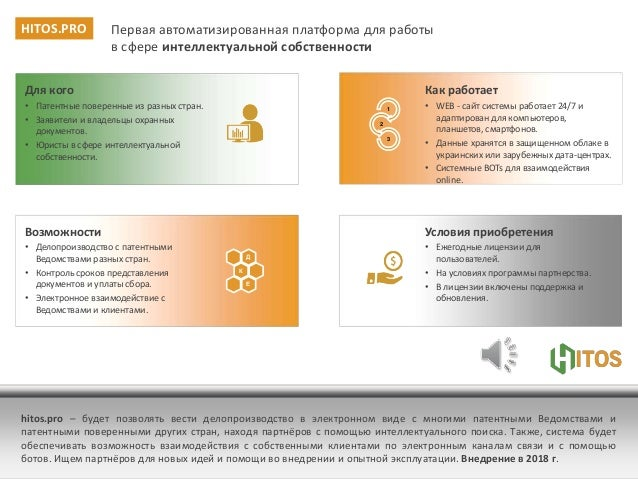hitos.pro – будет позволять вести делопроизводство в электронном виде с многими патентными Ведомствами и патентными повере...