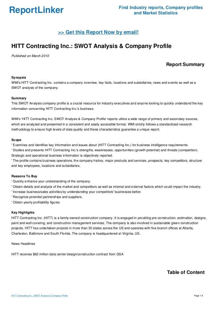 HITT Contracting Inc.: SWOT Analysis & Company Profile