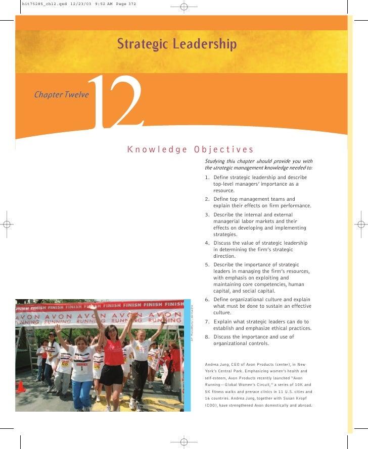 Strategic Leadership           12Chapter Twelve                  Knowledge Objectives                                     ...