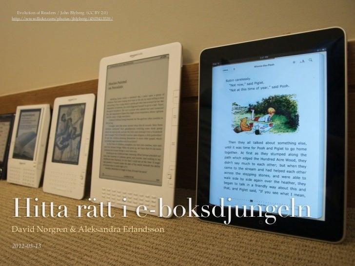 Evolution of Readers / John Blyberg (CC BY 2.0)http://www.flickr.com/photos/jblyberg/4505413539/Hitta rätt i e-boksdjungeln...