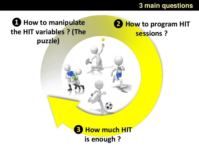 3 main questions ❶ How to manipulate the HIT variables ? (The puzzle) ❷ How to program HIT sessions ? ❸ How much HIT is en...