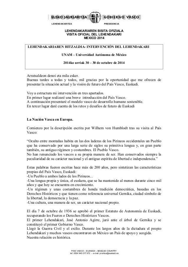 LEHENDAKARITZA PRESIDENCIA  LEHENDAKARIAREN BISITA OFIZIALA  VISITA OFICIAL DEL LEHENDAKARI  MEXICO 2014  LEHENDAKARIAREN ...