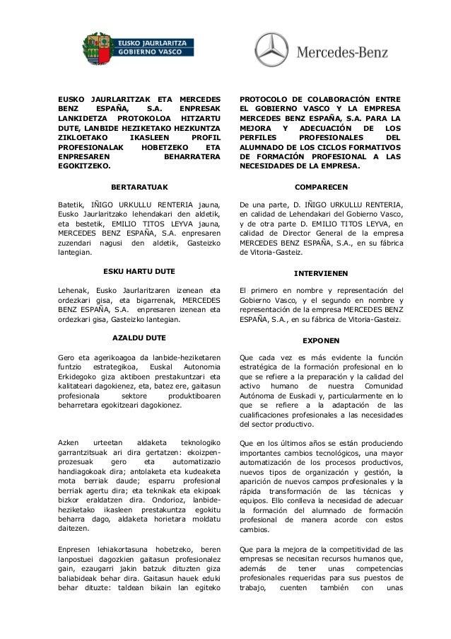 EUSKO JAURLARITZAK ETA MERCEDES BENZ ESPAÑA, S.A. ENPRESAK LANKIDETZA PROTOKOLOA HITZARTU DUTE, LANBIDE HEZIKETAKO HEZKUNT...