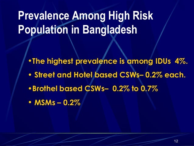 Prevalence Among High Risk Population in Bangladesh •The highest prevalence is among IDUs 4%. • Street and Hotel based CSW...