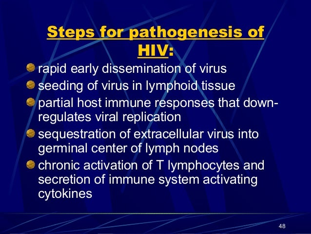 Steps for pathogenesis of HIV: rapid early dissemination of virus seeding of virus in lymphoid tissue partial host immune ...
