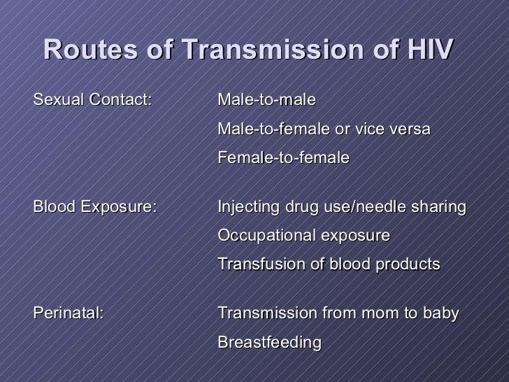 Routes of Transmission of HIV <ul><li>Sexual Contact: Male-to-male </li></ul><ul><li>Male-to-female or vice versa </li></u...