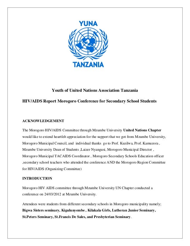 Youth of United Nations Association TanzaniaHIV/AIDS Report Morogoro Conference for Secondary School StudentsACKNOWLEDGEME...
