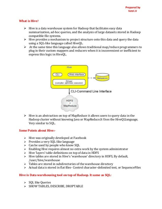 Prepared by Vetri.V What is Hive?  Hive is a data warehouse system for Hadoop that facilitates easy data summarization, a...