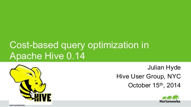 Cost-based query optimization in  Apache Hive 0.14  Julian Hyde Julian Hyde  Page ‹#› © Hortonworks Inc. 2014  Hive User G...
