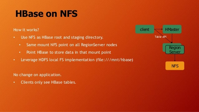 HBase on NFS How it works? • Use NFS as HBase root and staging directory. • Same mount NFS point on all RegionServer nodes...