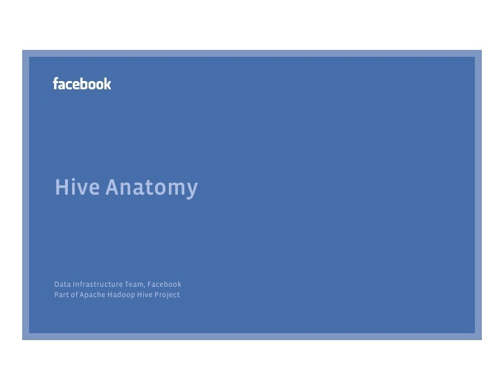 Hive Anatomy    Data Infrastructure Team, Facebook Part of Apache Hadoop Hive Project