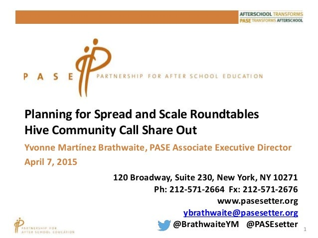 1 Planning for Spread and Scale Roundtables Hive Community Call Share Out 120 Broadway, Suite 230, New York, NY 10271 Ph: ...