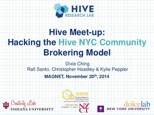 Hive Meet-up:  Hacking the Hive NYC Community  Brokering Model  Dixie Ching  Rafi Santo, Christopher Hoadley & Kylie Peppl...