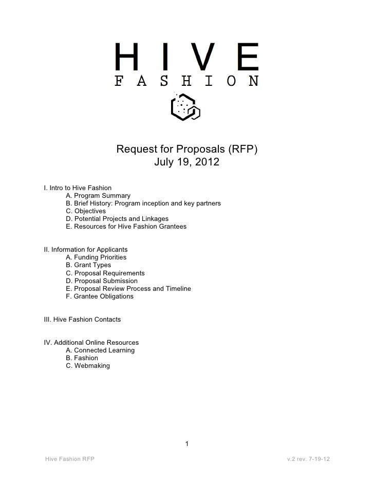 Request for Proposals (RFP)                               July 19, 2012I. Intro to Hive Fashion          A. Program Summar...