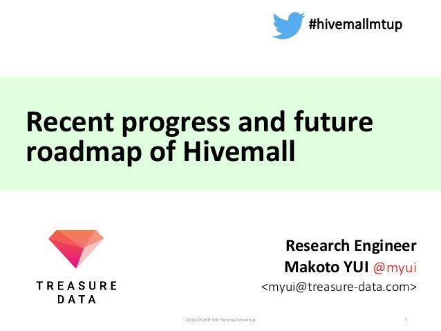Recent	progress	and	future	 roadmap	of	Hivemall Research	Engineer Makoto	YUI	@myui <myui@treasure-data.com> 1 #hivemallmtu...
