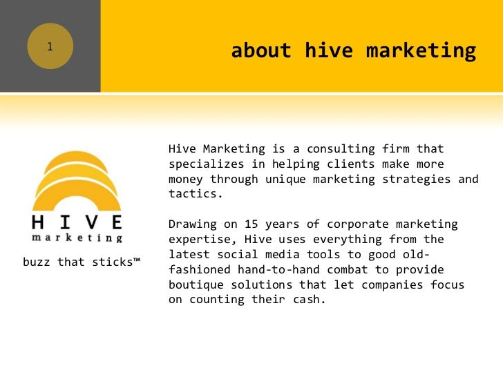 1                             about hive marketing                    Hive Marketing is a consulting firm that            ...