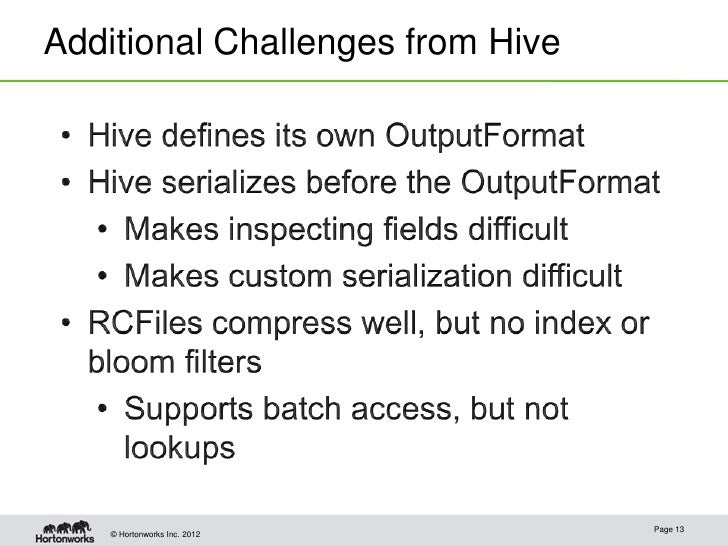 Additional Challenges from Hive                                  Page 13    © Hortonworks Inc. 2012