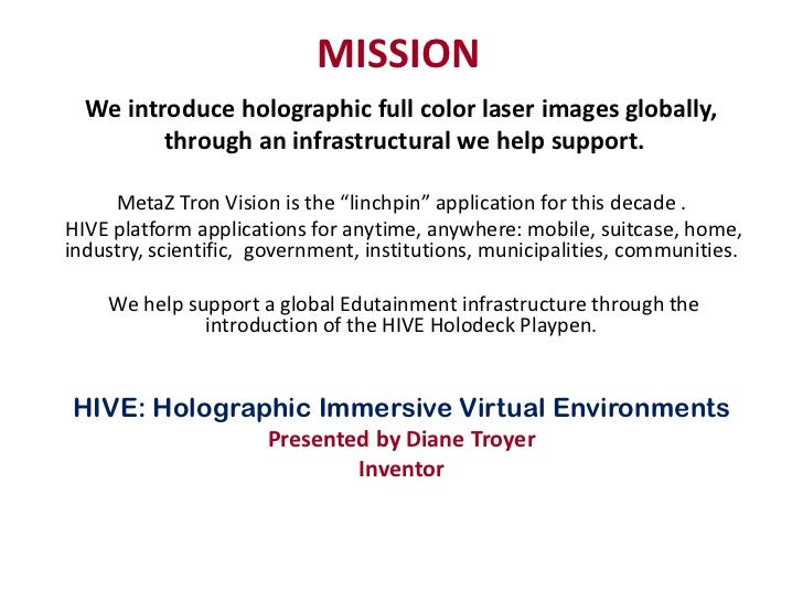 MISSION  We introduce holographic full color laser images globally,         through an infrastructural we help support.   ...
