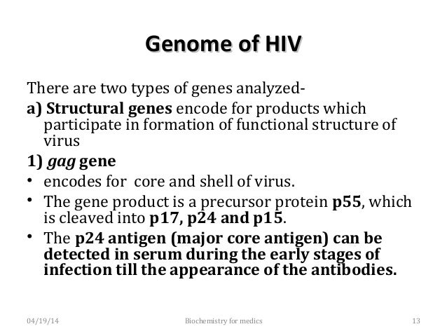 Genome of HIV (Structural genes)Genome of HIV (Structural genes) 2) polgene • Encodes for the polymerase reverse transcri...