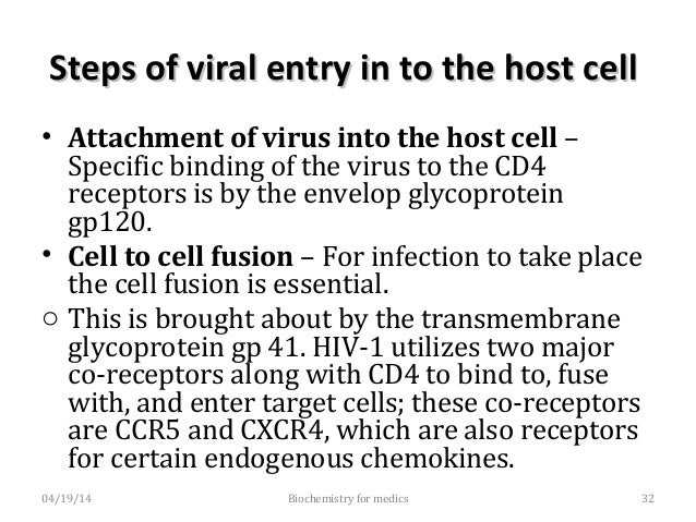 Steps of viral entry in to the hostSteps of viral entry in to the host cellcell o Strains of HIV that utilize CCR5 as a co...