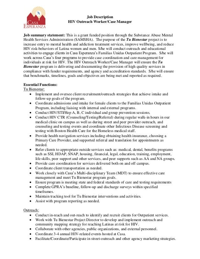 Delightful Job Description HIV Outreach Worker/Case Manager Job Summary Statement:  This Is A Grant ...