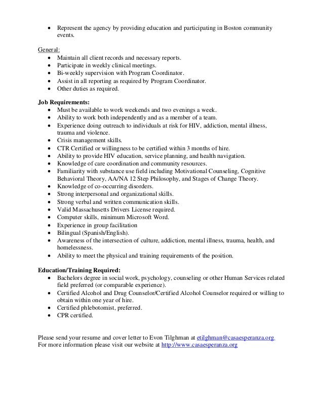 Casa Esperanza, Inc. Hiv Outreach Case Manager Job Description