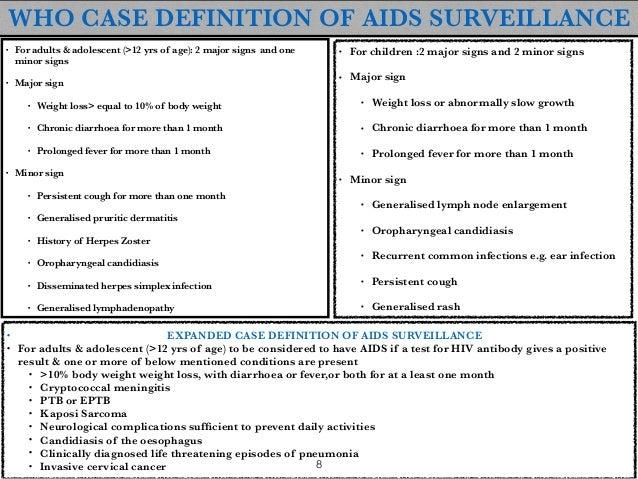 ... OPPORTUNISTIC INFECTION; 8. WHO CASE DEFINITION OF AIDS ...