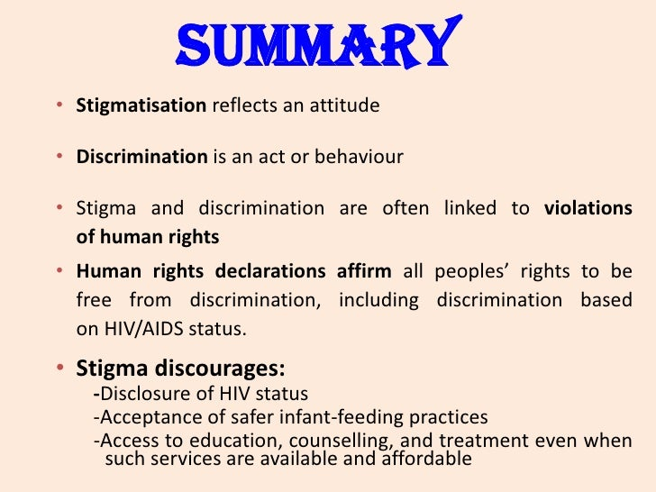 discrimination of hiv aids Stigma, discrimination and hiv/aids in latin america and the caribbean peter aggleton richard parker mirima maluwa inter-american development bank.