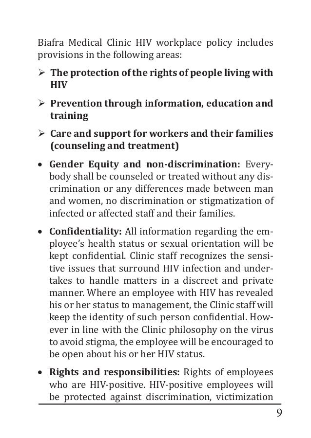 should hiv positive workers tell their employers of their status Employers are responsible for protecting employees from exposure to hiv and other bloodborne pathogens employees who are hiv-positive are not required to disclose their condition to employers unless the disease prevents them from completing the duties of the job.