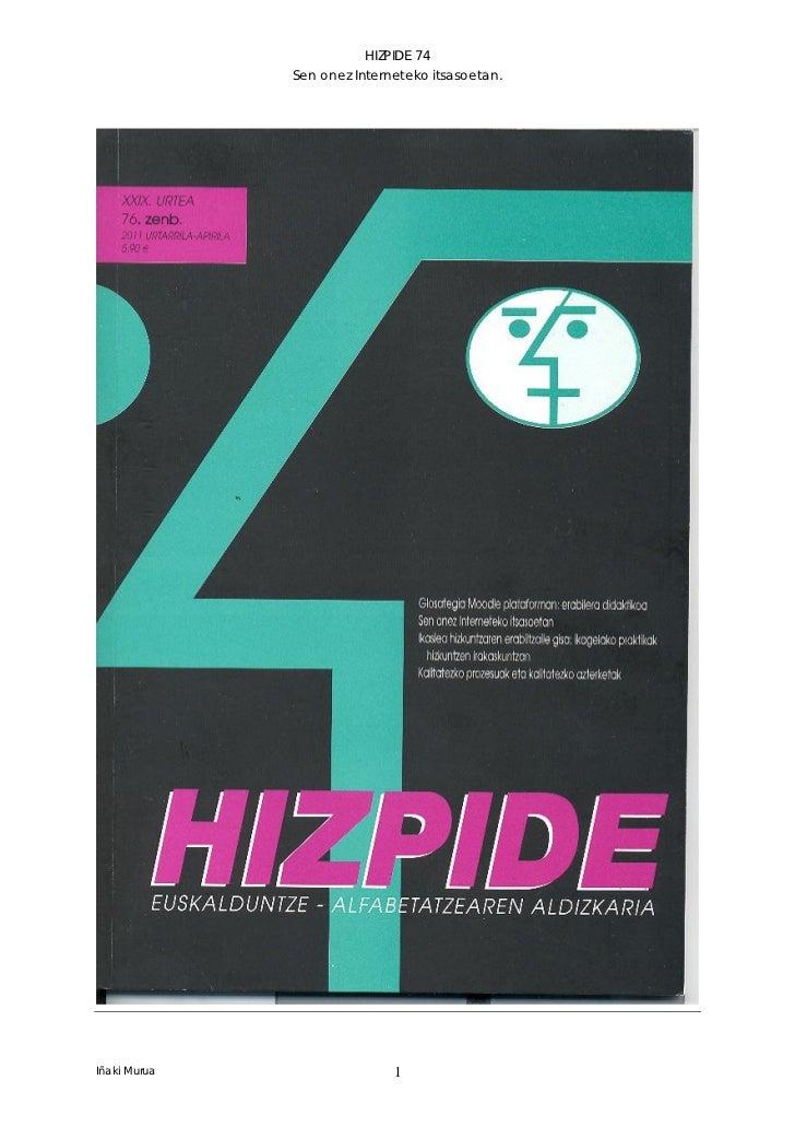 HIZPIDE 74              Sen onez Interneteko itsasoetan.Iñaki Murua                  1